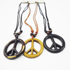 DBL Leather Cord Necklace w/ Peace Pend. .54 ea