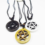 DBL Leather Cord Necklace w/ Star Style Pend. .54 ea