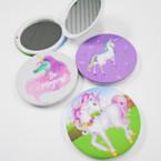 "3"" Round Unicorn Theme Compact Mirror 12 per pk .56 each"