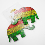 "2.5"" Rasta Color Wood Elephant Printed Earrings .52 each"