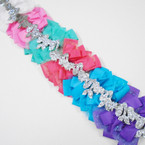 "5"" Layer Gator Clip Bows w/ Sparkle Lace & Silver Sparkle Mermaid .56 ea"