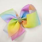 """5.5"""" Lite Color Tye Dye Gator Clip Bows w/ Cry. Stone Center .56 each"""