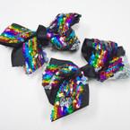 """5.5"""" Big Size Black Gator Clip Bow w/ Rainbow Sequins .58 each"""