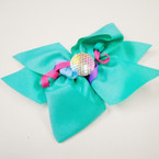 "5.5"" Layered Gator Clip Bows w/ Mermaid Scales & Curly Ribbon 12 per pk .56 ea"