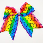 "6"" Rainbow Mermaid Scale Tail Gator Clip Bows w/ Cry. Stones   .56 ea"