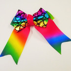 "5.5"" Rainbow Metallic Mermaid Scale Tail  Gator Clip Bows    .56 ea"