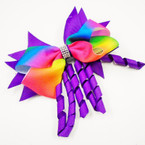 "5"" Layered Gator Clip Bows w/  Rainbow Bow & Curly Ribbons .56 ea"