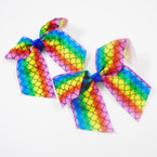 "3.5"" Rainbow Mermaid Scale Gator Clip Bows 24 per pk .28 each"