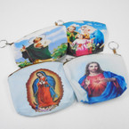 "5"" Religious Saint Picture Zipper Coin Purse w/ Keychain .54 ea"