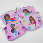 "4"" African American Girl Mermaid Coin Purse w/ Zipper .54 ea"