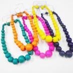 "16"" Asst Bright Color Wood Beaded Necklace Sets .58 ea set"