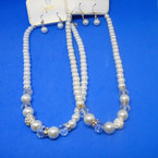 """16-18"""" Glass Pearl Elegant Necklace Set w/ Fire Ball & Crystal Beads .58 per set"""