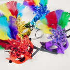 Rainbow Feather & Sequin Party Masks Asst Colors .58 each