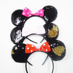 POPULAR Mouse Ear Change Color Sequin Headbands w/ Bow .56 each
