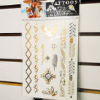 "6"" X 8"" Metallic Luster Temp Tattoos Mixed Styles per card ONLY .33 each"