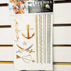 "6"" X 8"" Metallic Luster Temp Tattoos Mixed Styles per card ONLY .33 ea"