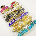 "2.5"" Gold Fashion Jaw Clip w/ Colored Crystal Stones & Chip Stones  .54 each"