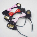 POPULAR CAT Ear Change Color Sequin Headbands w/ Bow .56 each
