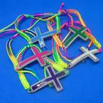 Handmade Multi Color Macrame Bracelet w/ Colorful Cross .50 each