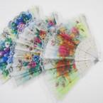 "9"" Lace Fashion Hand Fan White Handle w/ Flower Prints .54 each"