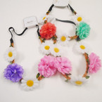 Popular 5 Flower Headbands w/ Elastic Back .54 each