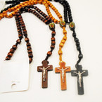 "30"" Woodtone Rosary w/ Guadalupe Picture & Cross w/ Jesus .54 each"