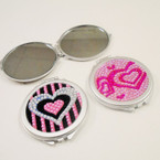 "2.5"" Acrylic Stone Heart Pattern DBL Compact .56 each"
