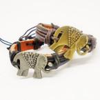 Teen Leather Bracelet w/ Gold & Silver Elephants   .54 ea
