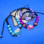 Colorful Beaded Black Macrame Bracelet w/ Crystal Stone Elephant .54 each