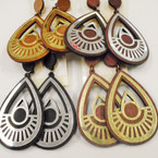 "2.5"" Oval Wood Earrings w/ Gold & Silver Overlay  .54 each"