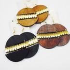 "2"" Round WoodTone Fashion Earrings w/ Matt Gold Center .54 ea"