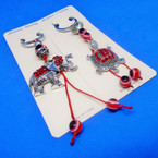 Cast Silver Elephant & Turtle Key Chains w/ Red Crystal Stones & Beads .54 ea