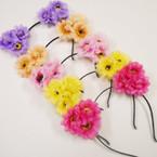 Trendy Mixed Color 3 Flower Headbands  12 per pk .56 each