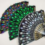 """9"""" Black Folding Fan w/ Sequin Sunbrust Pattern 12 per pack .56 EA"""