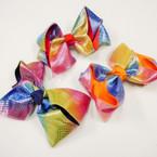 """5"""" Gator Clip Bows Rainbow Neon Metallics    .54 each"""