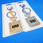 Gold & Silver Perfume Bottle Bling Keychain w/ Crystal Stones .54 ea