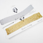 "1.5"" Wide Gold & Silver Bead Choker Necklace .54 each"