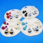 Popular 3 Pair Front/Back Ball Style Earrings .54 per set