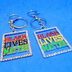 "2"" Bling Crystal Stone Edge Black Lives Matter Square Keychains  .54 each"