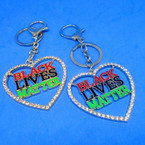 "2"" Bling Crystal Stone Edge Black Lives Matter Heart Keychains  .54 each"