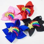 "5"" Gator Clip Bows w/ Sparkle Rainbow w/ Star .56 each"