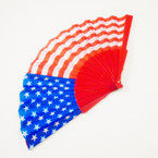 "9"" Patriotic USA Flag Theme Hand Fan w/ Red Handle  .54 each"