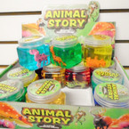 "2.5"" Square Animal Story  Slime Crystal Mud  12 per display .65 each"