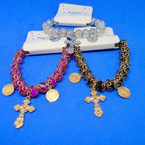 Crystal Bead Stretch Bracelets w/ Cross & San Benito Charms .54 each