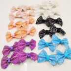 "2.5"" Asst Color Sparkle Finish Gator CLip Bows 24 per pk .27 each"