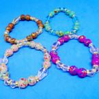 Splash Paint Glass Bead & Mini Crystal Fashion Bracelets .54 each