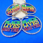 Bling Crystal Stone Edge Black Lives Matter Earrings Round  .54 per pair