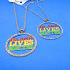 Bling Crystal Stone Edge Black Lives Matter Necklaces Round .56 each