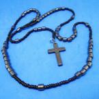 "36"" Hematite Tube Bead Rosary w/ Cross w/ Jesus .58 each"