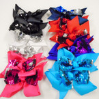 "5"" 2 Layer Gator Clip Bows w/ Changing Color Sequin Center .54 each"